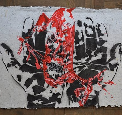 ZOITA | Motherland - The red deer | 60x80 cm | Stencil on handmade recycled paper