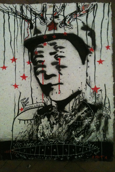 ZOITA | Motherland - The red stars| 60x80 cm | Stencil on handmade recycled paper